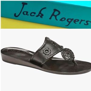 Jack Rogers Black Leather Capri Thong Sandals